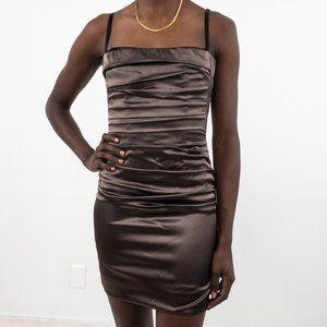 Vintage 90s 6 Ruched Satin Mini Dress Brown